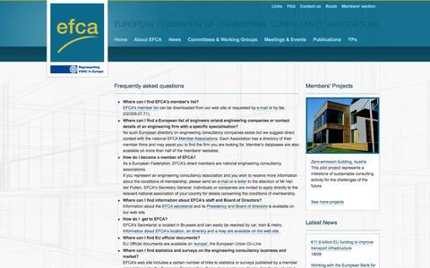 Screenshot of FAQ Page efcanet.org - Efca > Contact > FAQ - captured Oct. 1, 2014