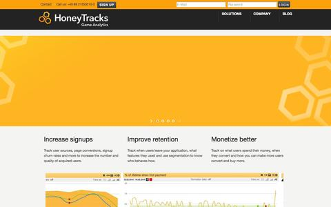 Screenshot of Home Page honeytracks.com - HoneyTracks – Game Analytics - captured Sept. 25, 2014