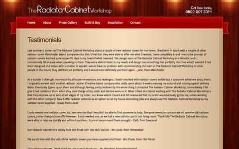 Screenshot of Testimonials Page theradiatorcabinetworkshop.co.uk - The Radiator Cabinet Workshop - Testimonials - captured Sept. 30, 2014