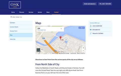 Screenshot of Maps & Directions Page osk.ie - OSK Map, OSK Accountants - Dublin - captured Jan. 12, 2016