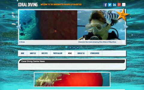 Screenshot of Press Page coraldiving.com - Coral Diving - PADI Certified Scuba Diving Centre in Mauritius - captured Oct. 1, 2014