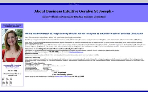 Screenshot of About Page gabrielstrumpet.com - About Business Intuitive Geralyn St Joseph - Intuitive Business Coach and Intuitive Business Consultant - captured Oct. 1, 2014