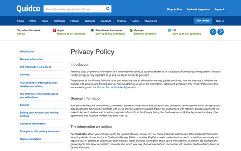 Screenshot of Privacy Page quidco.com - Quidco - The UK's #1 Cashback Site - captured Jan. 11, 2018