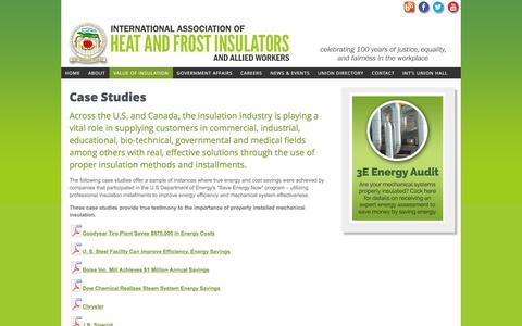 Screenshot of Case Studies Page insulators.org - Case Studies - captured Feb. 11, 2016