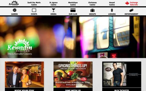 Screenshot of Home Page kewadin.com - Kewadin Casinos - Kewadin Casinos - captured Oct. 15, 2018