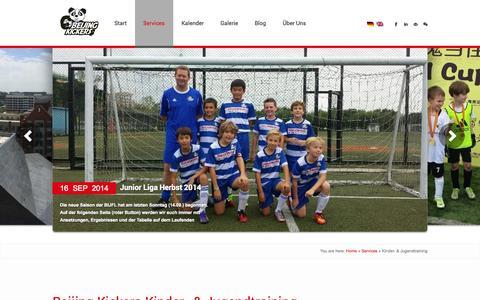 Screenshot of Services Page beijingkickers.com - Kinder- & Jugendtraining | Beijing Kickers - captured Oct. 8, 2014