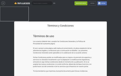 Screenshot of Terms Page minijuegos.com - Términos y condiciones - captured Sept. 21, 2018