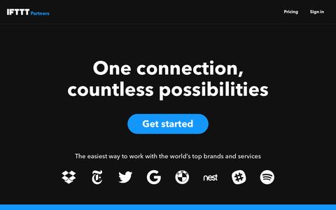 Screenshot of Developers Page ifttt.com - IFTTT Partner Platform - captured Nov. 3, 2016