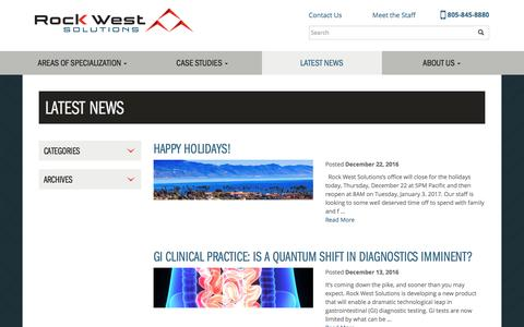Screenshot of Press Page rockwestsolutions.com - Latest News – Rock West Solutions - captured Dec. 26, 2016
