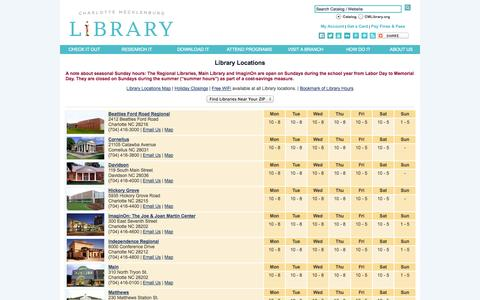 Screenshot of Locations Page cmlibrary.org - CMLibrary: Locations - captured Sept. 19, 2014