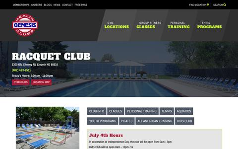 Screenshot of Hours Page genesishealthclubs.com - Club Hours - Racquet Club - captured July 3, 2018