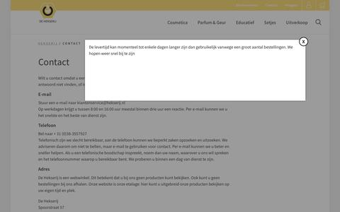 Screenshot of Contact Page hekserij.nl - Contact - Hekserij : Hekserij - captured Oct. 8, 2018