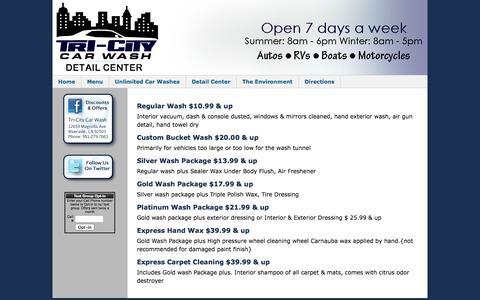 Screenshot of Menu Page tri-citycarwash.com - Car Wash Menu - captured Oct. 7, 2014
