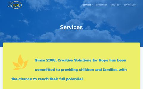 Screenshot of Services Page creativesolutionsforhope.com - Services | Creative Solutions for Hope - captured Dec. 8, 2018