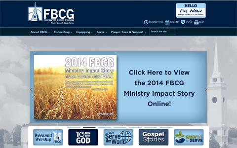 Screenshot of Home Page fbcg.com - FBCGFirst Baptist Church of Geneva - captured Oct. 6, 2014