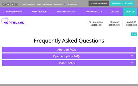 Screenshot of FAQ Page northlandfamilyplanning.com - FAQs | Northland Family Planning Centers - captured Oct. 18, 2018
