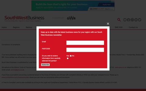 Screenshot of Terms Page southwestbusiness.co.uk - Terms » Home - captured Sept. 22, 2018
