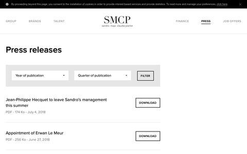 Screenshot of Press Page smcp.com - Press releases - SMCP - captured Oct. 1, 2018