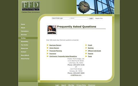 Screenshot of FAQ Page ffdcpa.com - Little Rock, AR Accounting Firm   Frequently Asked Questions Page   Frazee, Fox & Dodge, Ltd. - captured Oct. 6, 2014