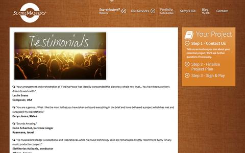 Screenshot of Testimonials Page scoremastersmusicproduction.com - ScoreMasters® - Testimonials - captured Oct. 27, 2014