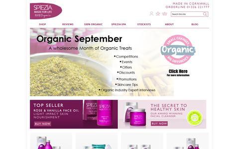 Screenshot of Home Page spieziaorganics.com - Organic Skin Care | Spiezia Organics - captured Sept. 23, 2014