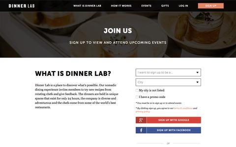 Screenshot of Signup Page dinnerlab.com - Sign Up   Dinner Lab - captured Jan. 16, 2016