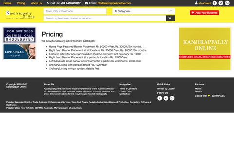 Screenshot of Pricing Page kanjirappallyonline.com - Kanjirappally Local Business Directory :  Kanjirappally Online - captured July 3, 2018