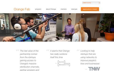 Screenshot of Press Page orangefab.com - Orange Fab  » press - captured Sept. 24, 2014