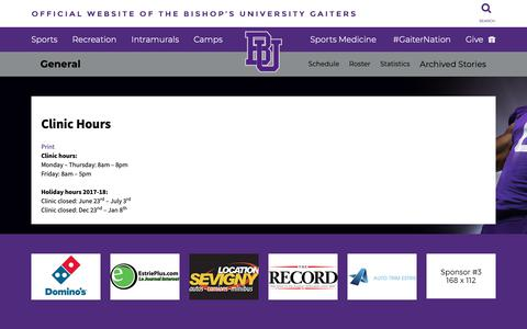 Screenshot of Hours Page gaiters.ca - Official Website Of The Bishop's University Gaiters - captured Nov. 1, 2018