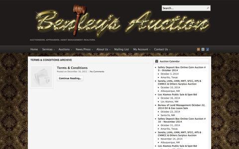 Screenshot of Terms Page auctionsouthwest.com - Terms & Conditions | Bentley & Associates, LLC - The Southwest's Premier Auction Company - captured Oct. 5, 2014
