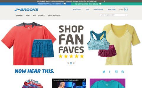 Screenshot of Home Page brooksrunning.com - BrooksRunning.com: Brooks Running Shoes and Apparel - captured Sept. 22, 2014
