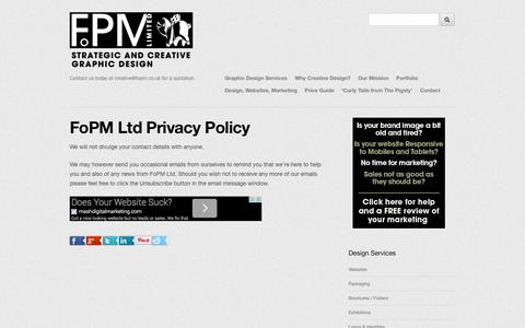 Screenshot of Privacy Page fopm.co.uk - FoPM Privacy Policy - Contact us today at creative@fopm.co.uk for a quotation - captured Oct. 6, 2014