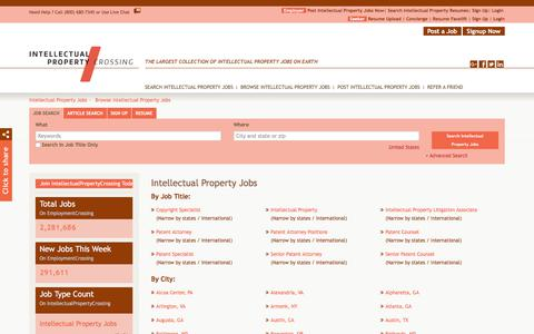 Screenshot of Jobs Page intellectualpropertycrossing.com - Intellectual Property Jobs, Browse Jobs in Intellectual Property By Job Type, City, State in United States | IntellectualPropertyCrossing.com - captured Sept. 19, 2018