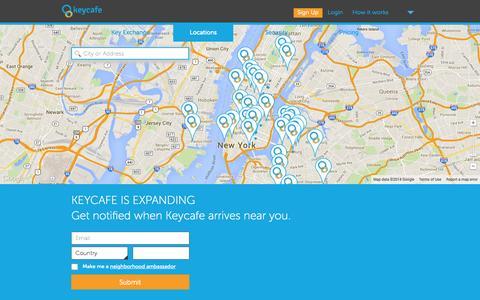 Screenshot of Locations Page keycafe.com - Keycafe: Secure Key Exchange - captured Sept. 30, 2014