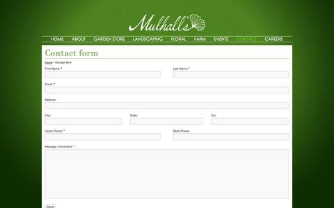 Screenshot of Contact Page mulhalls.com - Contact form | - captured Oct. 7, 2014