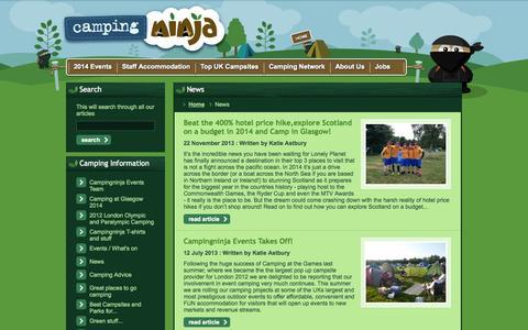 Screenshot of Press Page campingninja.com - News :: Campingninja - captured Sept. 27, 2014