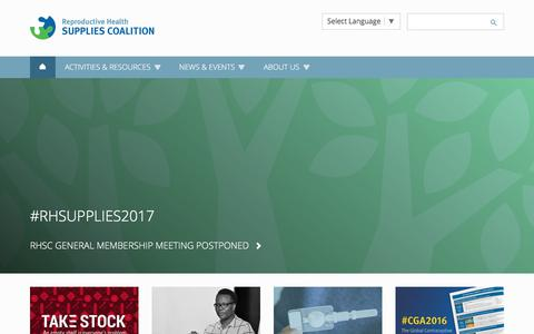 Screenshot of Home Page rhsupplies.org - Reproductive Health Supplies Coalition - Home - captured Oct. 23, 2017