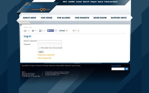Screenshot of Login Page bbyo.org - BBYO: Log In - captured Sept. 25, 2014