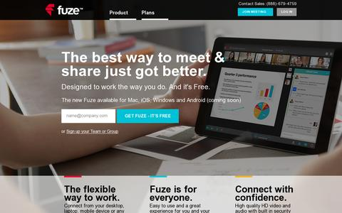 Screenshot of Home Page fuze.com - Fuze (formerly FuzeBox) | Free Online Meeting Services - captured July 17, 2014