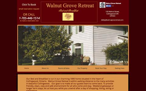 Screenshot of Home Page walnutgroveretreat.com - Walnut Grove Retreat Bed and Breakfast - captured Oct. 8, 2014