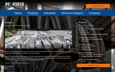 Screenshot of Products Page morris-associates.com - Morris Products | Poultry Chilling | Industrial Ice Production - captured Oct. 21, 2017