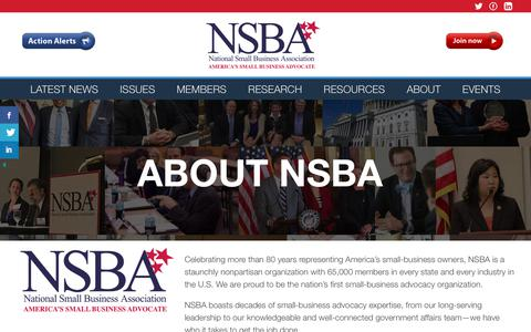 Screenshot of About Page nsba.biz - About - National Small Business Association : National Small Business Association - captured Sept. 22, 2018
