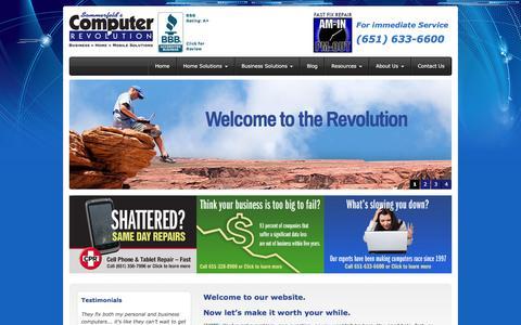 Screenshot of Home Page comprev.com - Computer Repair, IT Services, Computer Sales - Roseville, Arden Hills, Shoreview | Computer Revolution - captured Jan. 30, 2016