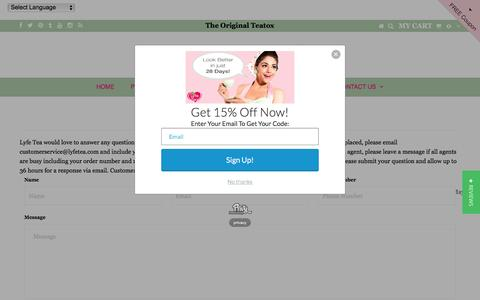 Screenshot of Contact Page lyfetea.com - Lyfe Tea : Contact Us - captured Jan. 29, 2017