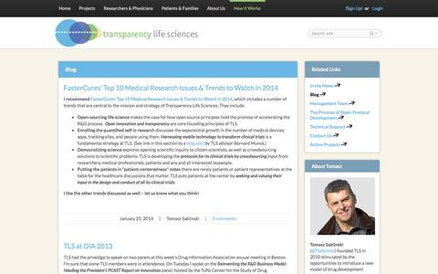 Screenshot of Blog transparencyls.com - Blog | TLS - captured Oct. 7, 2014