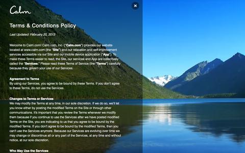 Screenshot of Terms Page calm.com - calm.com - captured Nov. 18, 2015