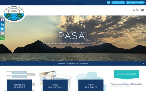Screenshot of Home Page pasai.org - Pacific Association of Supreme Audit Institutions - captured Feb. 26, 2018