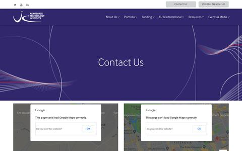Screenshot of Contact Page ati.org.uk - Contact Us - Aerospace Technology Institute - captured Oct. 1, 2018