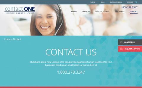 Screenshot of Contact Page wetakecalls.com - Contact One Call Center   Arizona Call Centers, Tucson Call Centers - captured Nov. 11, 2016