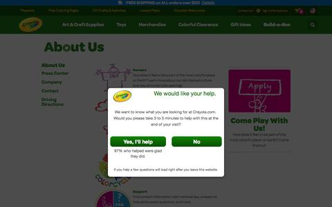 Screenshot of About Page crayola.com - About Us | crayola.com - captured Nov. 3, 2015
